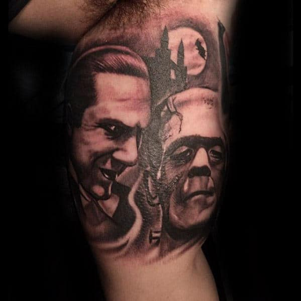 Male With Dracula And Frankenstein Themed Inner Arm Bicep Tattoo