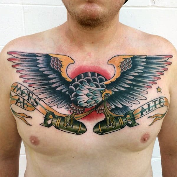 Male With Eagle Missle Traditional Chest Tattoo