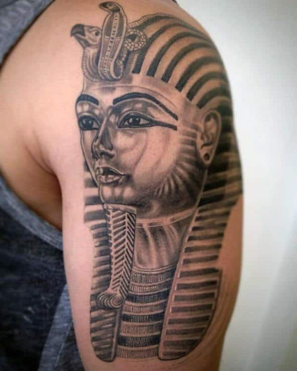 Male With Ehyptian Pharaoh King Tut Arm Tattoo