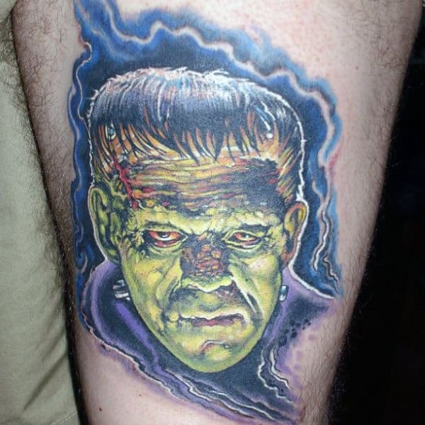 Male With Electric Frankenstein Tattoo On Thigh