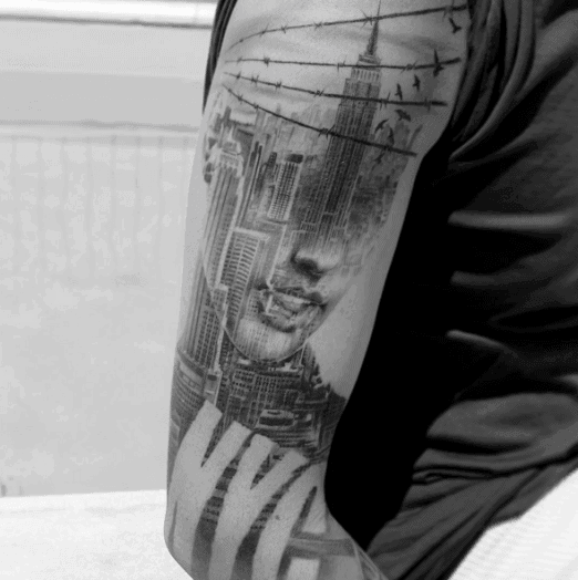 Male With Empire State Building Tattoos