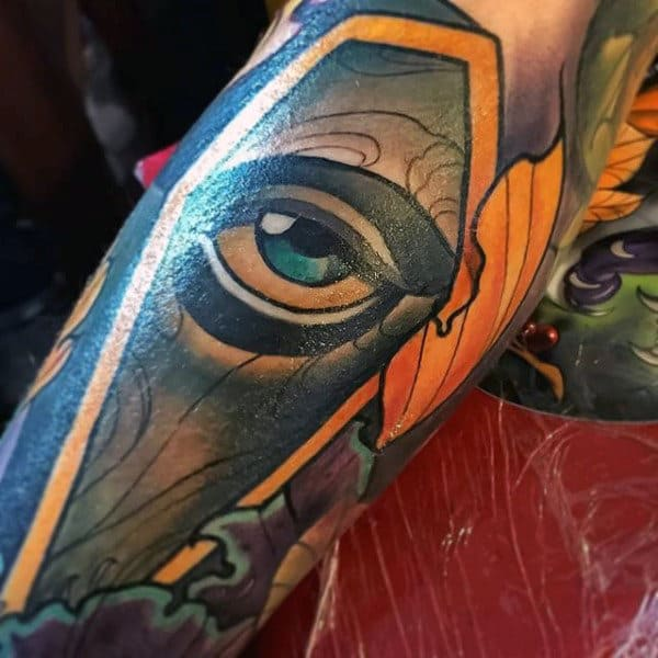 Male With Eye Coffin Tattoo