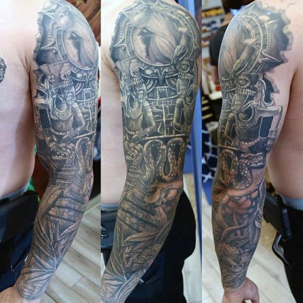 Male With Full Sleeve Mayan Themed Tattoo Design