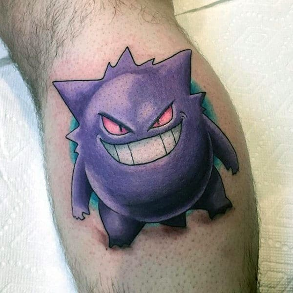Male With Gengar Pokemon Leg Calf Tattoos