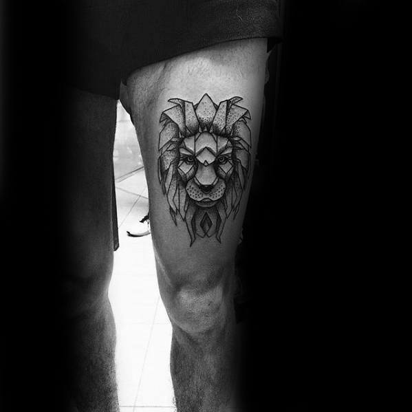 Male With Geoemtric Lion Thigh Tattoo