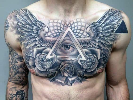 Male With Geometric Wings And All Seeing Eye Ches Tattoo