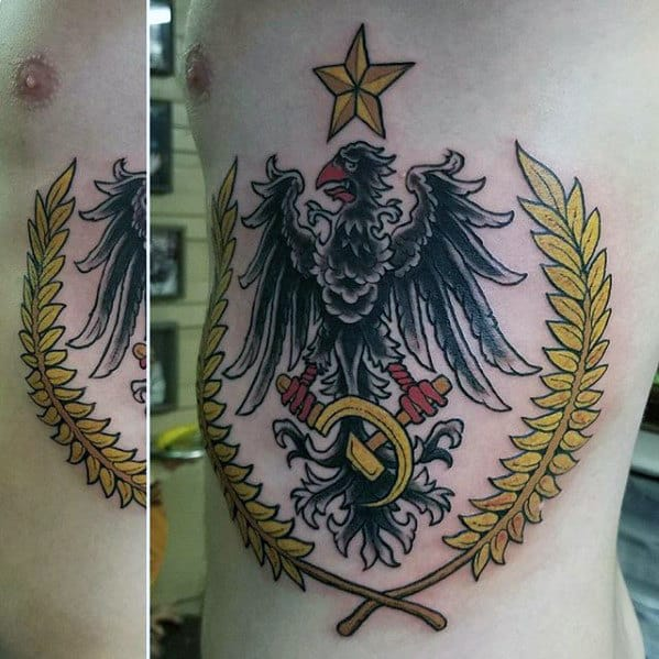 Male With German Eagle Rib Cage Side Tattoo