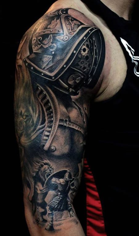 Male With Gladiator Tattoo Half Sleeve
