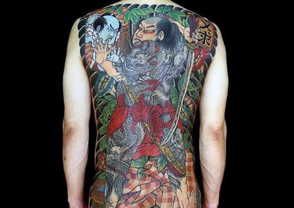 Male With Glorious Japanese Samurai Tattoo Full Back