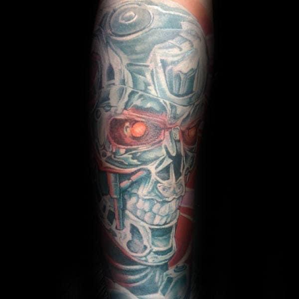 Male With Glowing Red Eye Cyborg Terminator Tattoo
