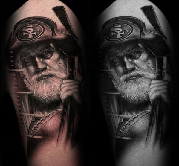 Male With Gold Miner San Francisco 49ers Arm Tattoo