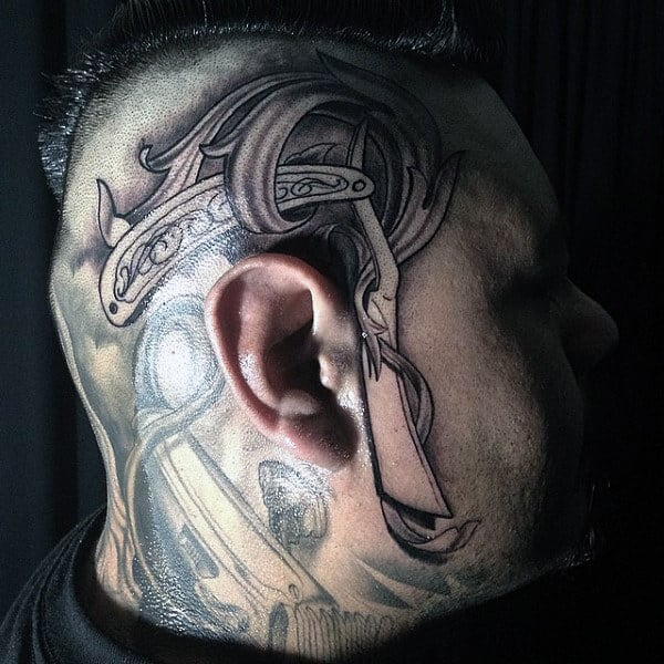 Male With Grey Straight Razor Tattoo Near Ear