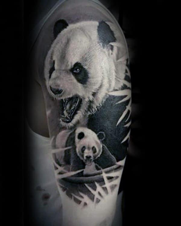 Male With Half Sleeve Panda Bears Tattoo