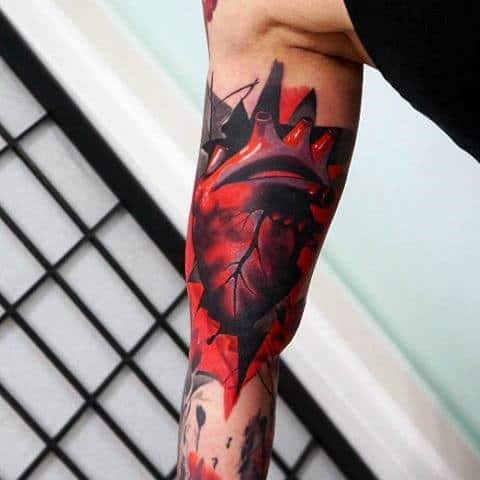 Male With Heart Tattoo In Neo Traditional Style Half Sleeve