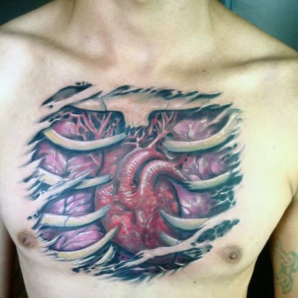Male With Heart Tattoo On Chest Including Rib Cage Traditional Style
