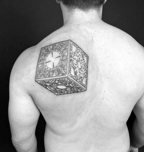 Male With Hellraiser Tattoos On Upper Back