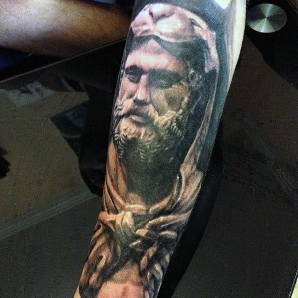 Male With Hercules Leg Sleeve Tattoo