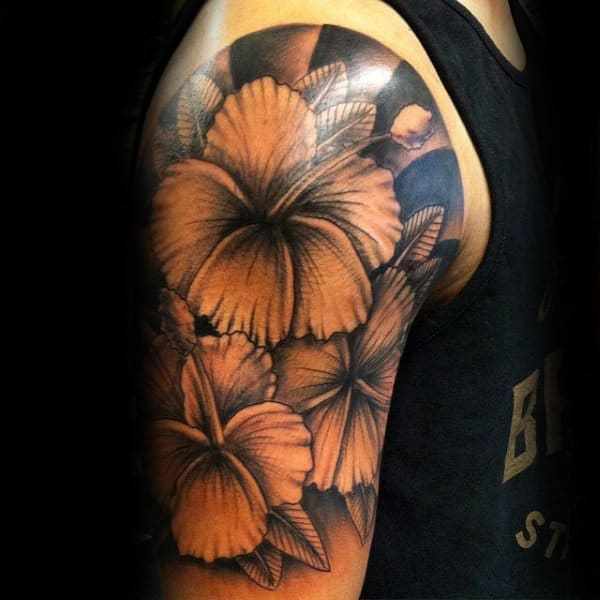 Male With Hibiscus Half Sleeve Shaded Tattoo