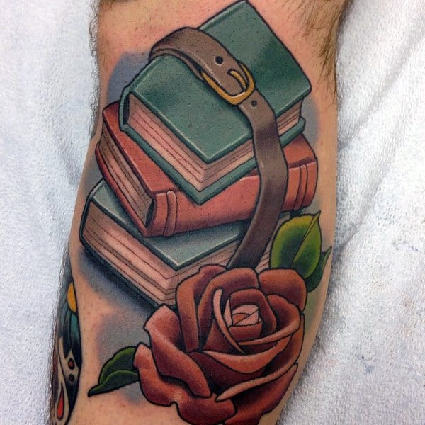 Male With Hoard Of Books Rose Tattoo