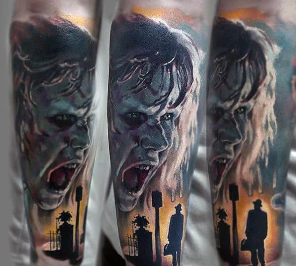 Male With Horror Movie Tattoos