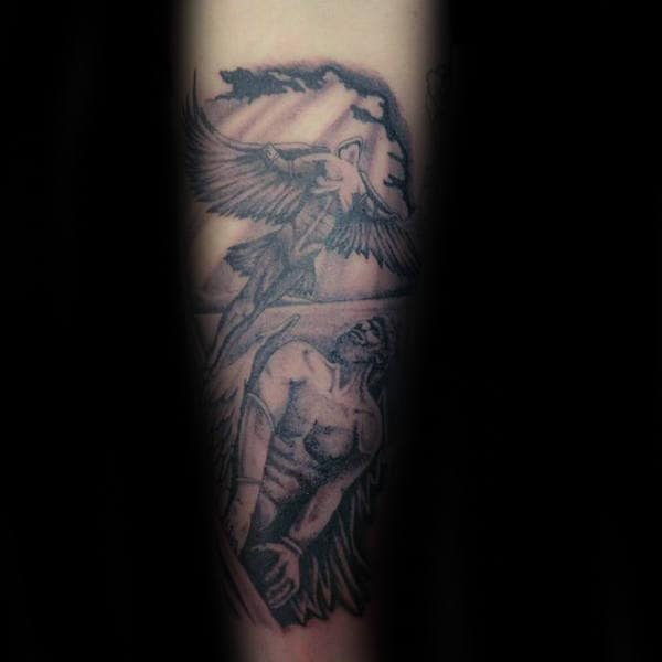 Male With Icarus Greek Mythology Tattoo Design On Inner Forearm