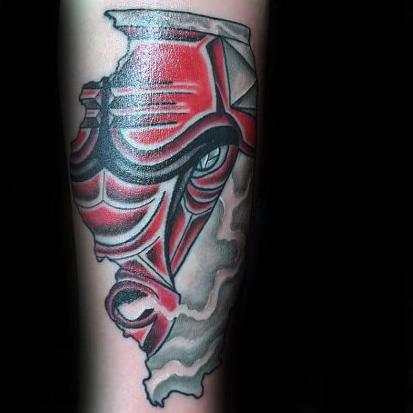 Male With Illinois Chicago Bulls Forearm Tattoo
