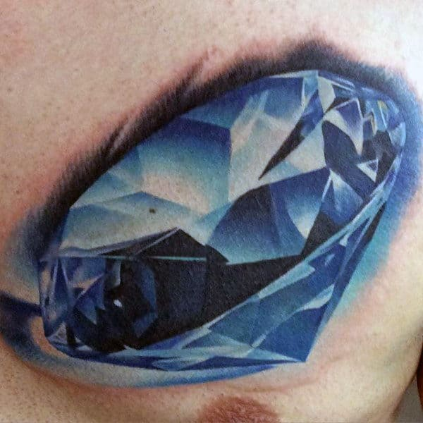 Male With Incredible 3d Blue Diamond Tattoo On Upper Chest