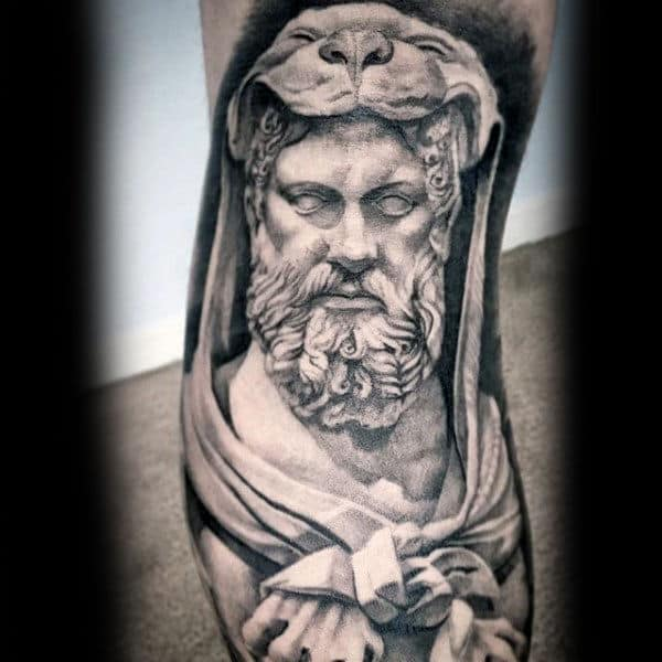 Male With Incredible Black And Grey Shaded Hercules Leg Tattoo