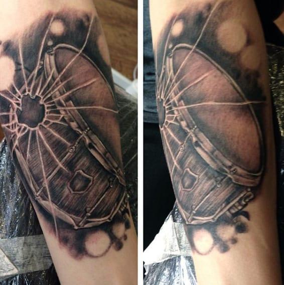 Male With Inner Arm Tattoo Drum Broken Glass 3d Design