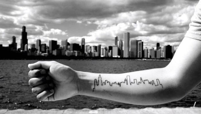 Male With Inner Forearm Outline Of Chicago Skyline Buildings Tattoo