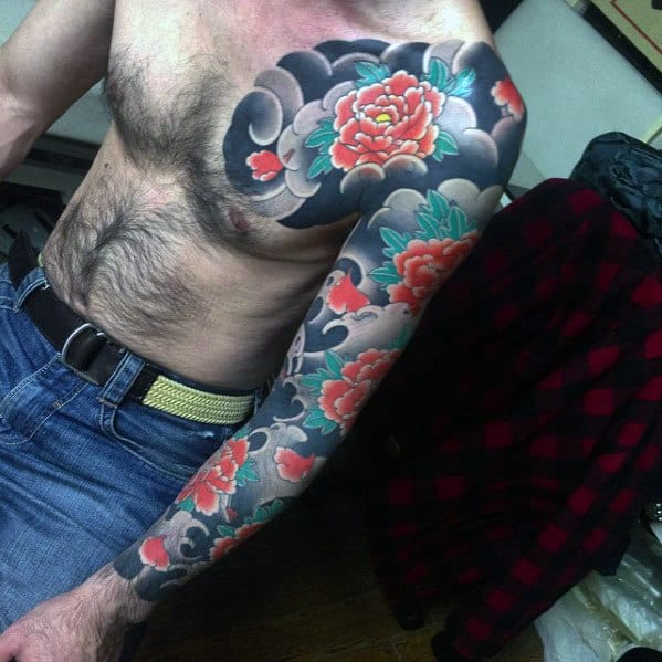 Male With Japanese Carnation Flower Full Sleeve Tattoo