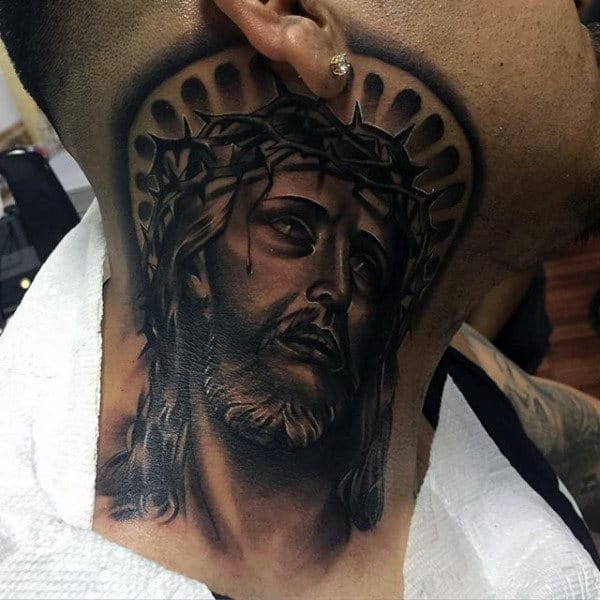 Male With Jesus Christ Portrait Tattoo On Side Of Neck