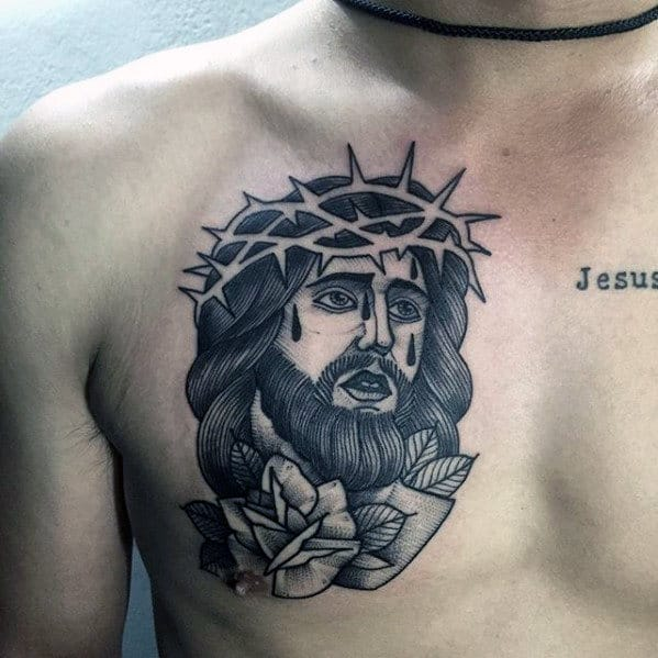 Male With Jesus Rose Flower And Negative Space Crown Of Thorns Upper Chest Tattoo