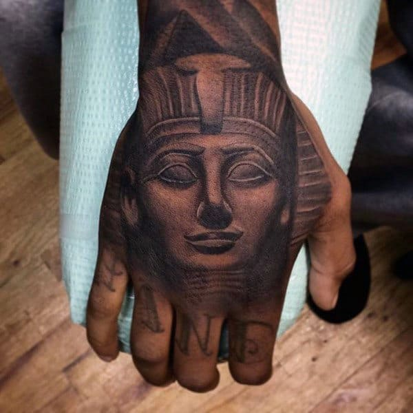 Male With King Tut Shaded Hand Tattoo