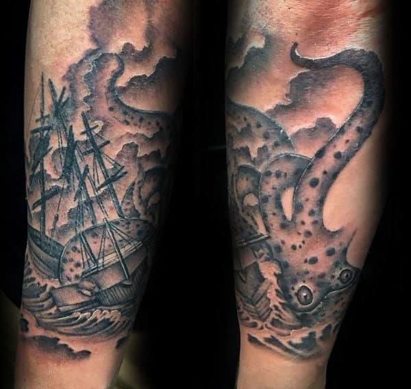 Male With Kraken Ocean Sea Forearm Tattoos