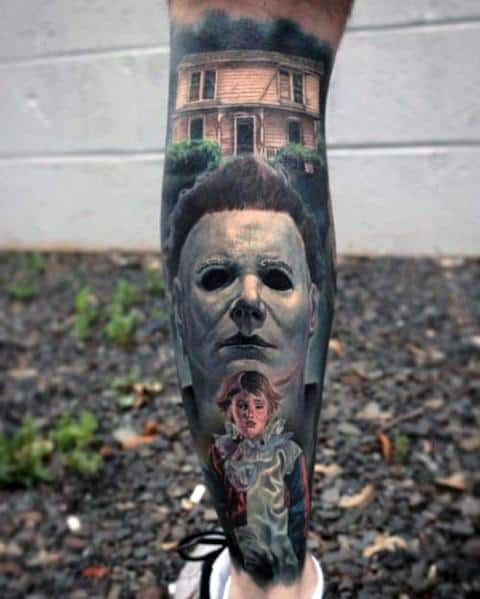 Male With Leg Sleeve Michael Myers Themed Tattoos