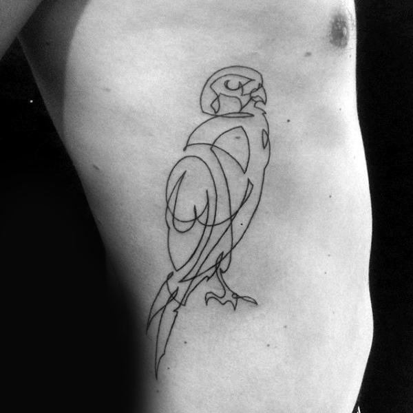 Male With Linework Black Ink Falcon Rib Cage Side Tattoo