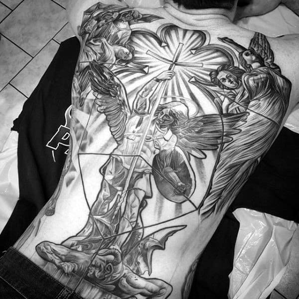 Male With Lovely Angelic Grey Tattoo Full Back