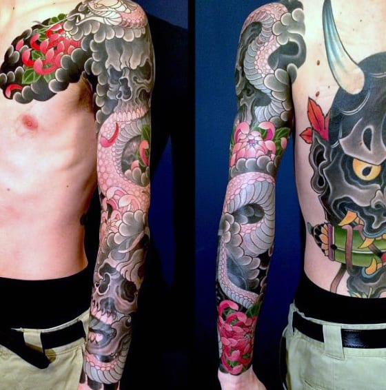 Male With Lovely Japanese Sleeve Tattoo