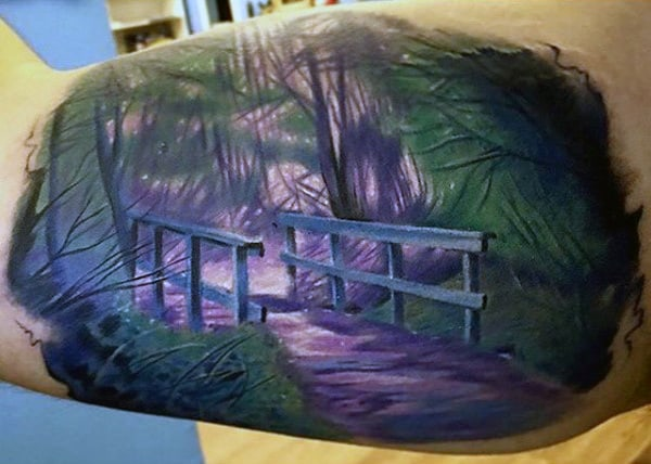 Male With Lovely Pathway In The Forest Tattoo Inner Biceps