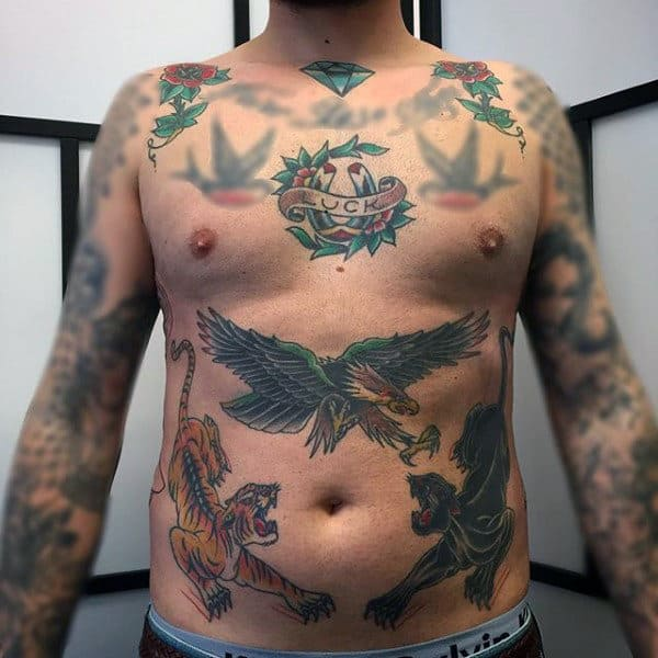 Male With Lucky Horseshoe Chest Tattoo Design