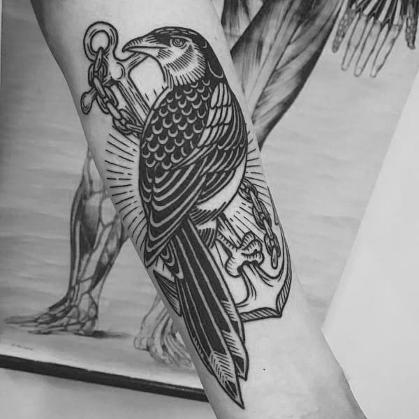 Male With Magpie Tattoos