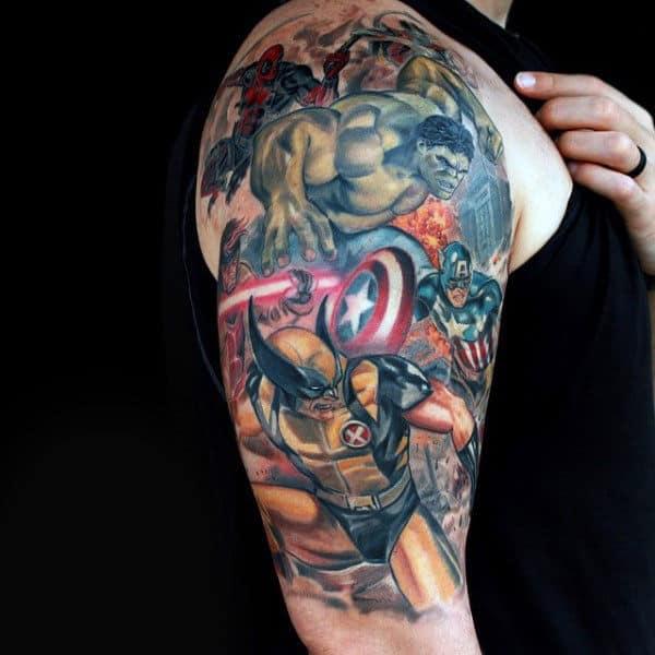 Male With Marvel Superheros Captain America Half Sleeve Tattoo