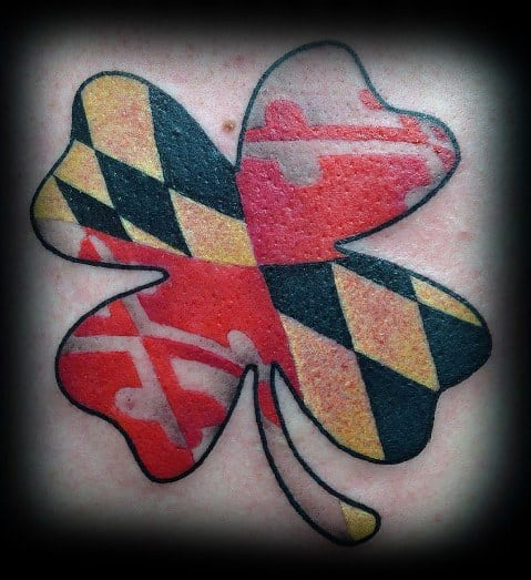 Male With Maryland Flag Tattoos