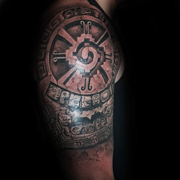 Male With Mayan Hunab Ku Half Sleeve 3d Tattoo