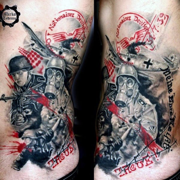 Male With Military Cross Tattoos