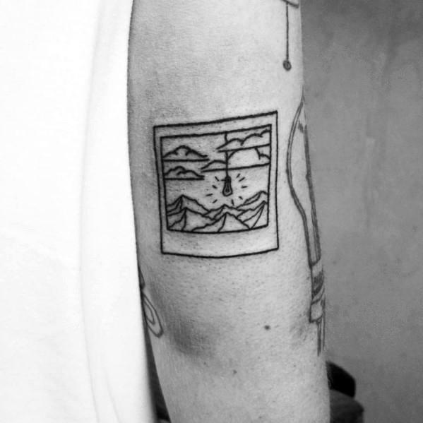 Male With Minimalist Mountain Tattoos