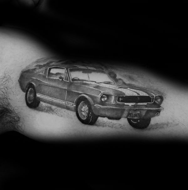 Male With Mustang Shaded Black And Grey Ink Bicep Inner Arm Tattoo Design