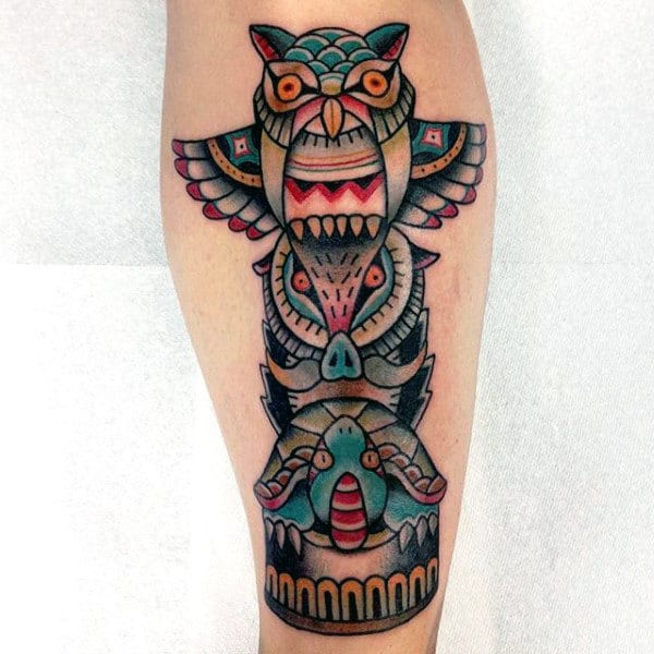 Male With Neo Traditional Totem Pole With Owl Tortoise And Pig Forearm Tattoo
