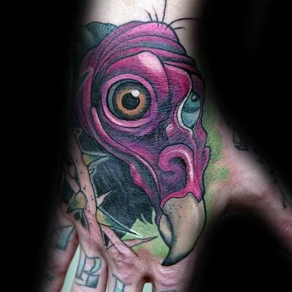 Male With New School Vulture Hand Tattoo